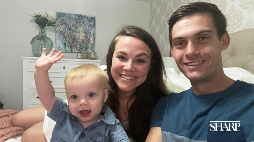 Sharp nurse Amelia Benefiel, her husband Tim, and 1-year-old son Luke