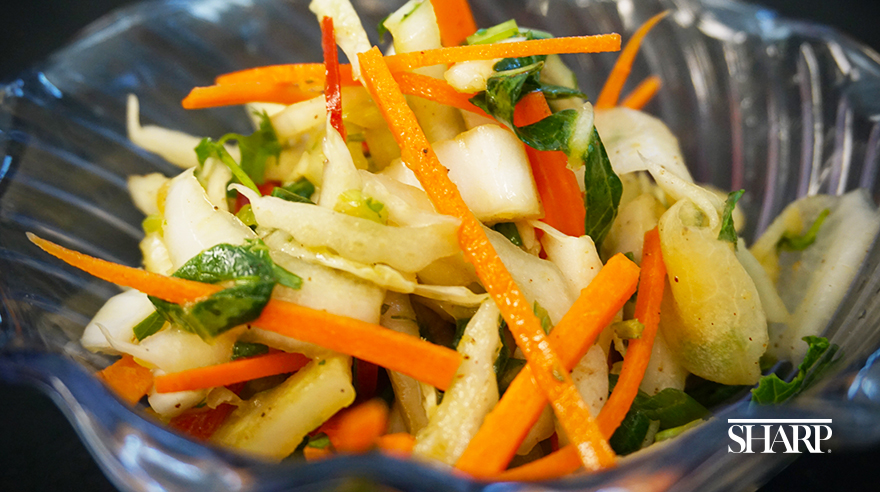 Asian vegetable salad with carrots and bok choy