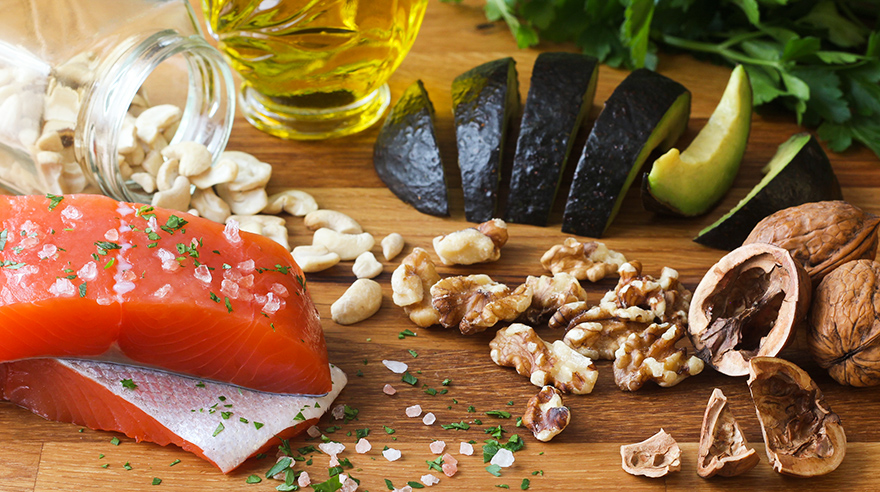 salmon, avocado, nuts, olive oil, mediterranean diet