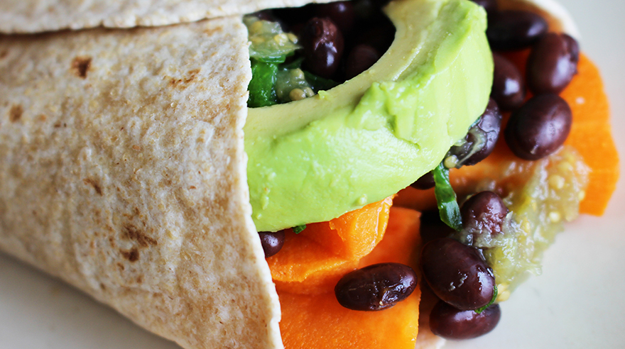 Sweet potato black bean breakfast burrito (recipe)
