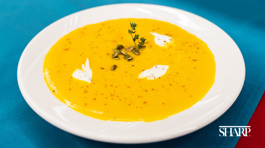 Butternut squash soup with poblano cream (recipe)