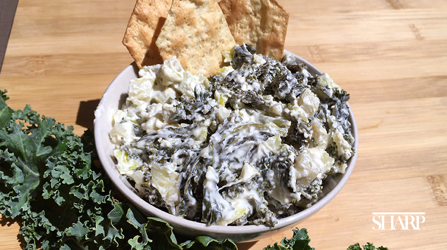 Light and creamy artichoke and kale dip (recipe)