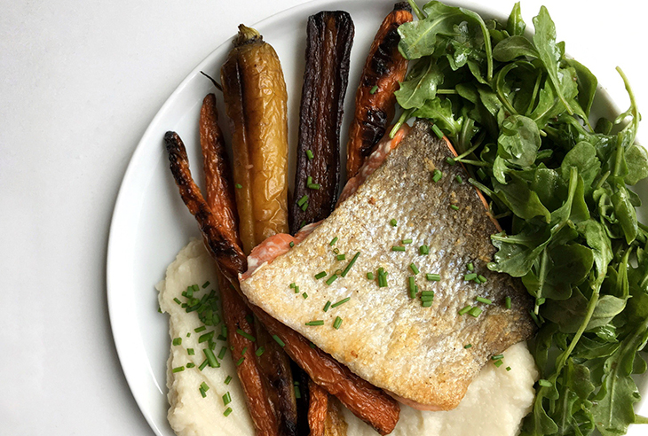 Crispy Skin Salmon With Cauliflower Mash and Roasted Carrots