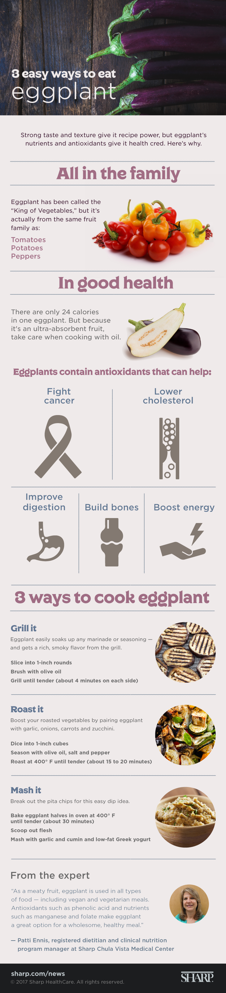 "3 easy ways to eat eggplant (infographic). Strong taste and texture give it recipe power, but eggplant's nutrients and antioxidants give it health ""cred."" In fact, eggplant has been called the ""King of Vegetables,"" but it's actually from the same fruit family as tomatoes, potatoes and peppers. Eggplants contain antioxidants that can help fight cancer, lower cholesterol, improve digestion, build bones and boost energy. ""As a meaty fruit, eggplant is used in all types of food – including vegan and vegetarian meals,"" Says Patti Ennis, registered dietician and clinical nutrition program manager at Sharp Chula Vista Medical Center. ""Antioxidants such as phenolic acid and nutrients such as manganese and folate make eggplant a great option for a wholesome, healthy meal."" There are only 24 calories in one eggplant. However, because it's an ultra-absorbent fruit, take care when cooking with oil. Three ways to cook eggplant. Grill it. Eggplant easily soaks up any marinade or seasoning and gets a rich, smoky flavor from the grill. Ingredients. 1 eggplant. Olive oil. Directions. Slice eggplant into 1-inch rounds. Brush the eggplant with olive oil. Grill it until it is tender (about 4 minutes on each side). Roast it. Boost your roasted vegetables by pairing eggplant with garlic, onion, carrots and zucchini. Ingredients. 1 eggplant. Olive oil. Salt. Pepper. Directions. Heat oven to 400F. Dice the eggplant into 1-inch cubes. Season the eggplant with olive oil, salt and pepper. Roast the eggplant until tender (about 15 to 20 minutes). Mash it. Break out the pita chips for this easy dip idea. Ingredients. 1 eggplant. Garlic. Cumin. Low-fat Greek yogurt. Directions. Heat oven to 400F. Slice eggplant in half lengthwise and bake until tender (about 30 minutes). Scoop out the eggplant's flesh. Mash eggplant with garlic, cumin and low-fat Greek yogurt."