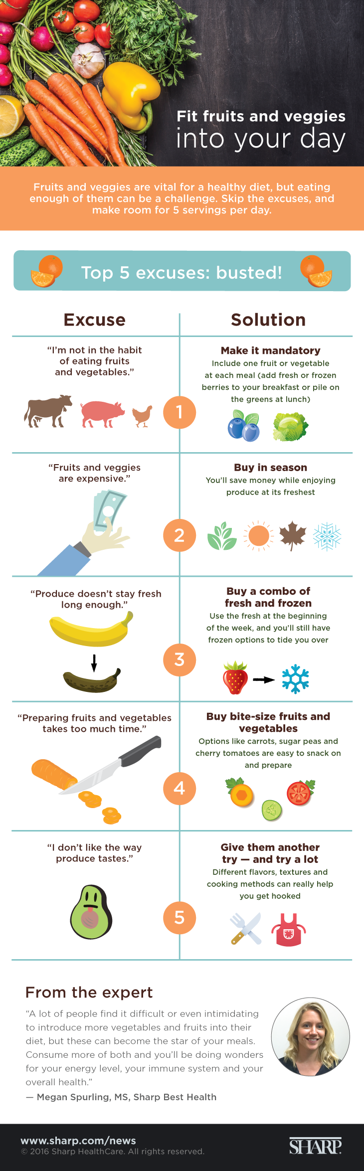 Fit fruits and veggies into your day (infographic). Fruits and veggies are vital for a healthy diet, but eating enough of them can be a challenge. Skip the excuses and make room for five servings per day. Top five excuses: busted! Excuse – I'm not in the habit of eating fruits and vegetables. Solution – Make it mandatory. Include one fruit or vegetable at each meal (add fresh or frozen berries to your breakfast or pile on the greens at lunch). Excuse – Fruits and veggies are expensive. Solution – Buy in season. You'll save money while enjoying produce at its freshest. Excuse – Produce doesn't stay fresh long enough. Solution –  Buy a combo of fresh and frozen. Use the fresh at the beginning of the week, and you'll still have frozen options to tide you over. Excuse – Preparing fruits and vegetables takes too much time. Solution – Buy bite-size fruits and vegetables. Options like carrots, sugar peas and cherry tomatoes are easy to snack on and prepare. Excuse – I don't like the way produce tastes. Solution – Give them another try – and try a lot. Different flavors, textures and cooking methods can really help you get hooked. A lot of people find it difficult or even intimidating to introduce more vegetables and fruits into their diet, but these can become the star of your meals, says Megan Spurling, MS, with Sharp Best Health. Consume more of both and you'll be doing wonders for your energy level, your immune system and your overall health.