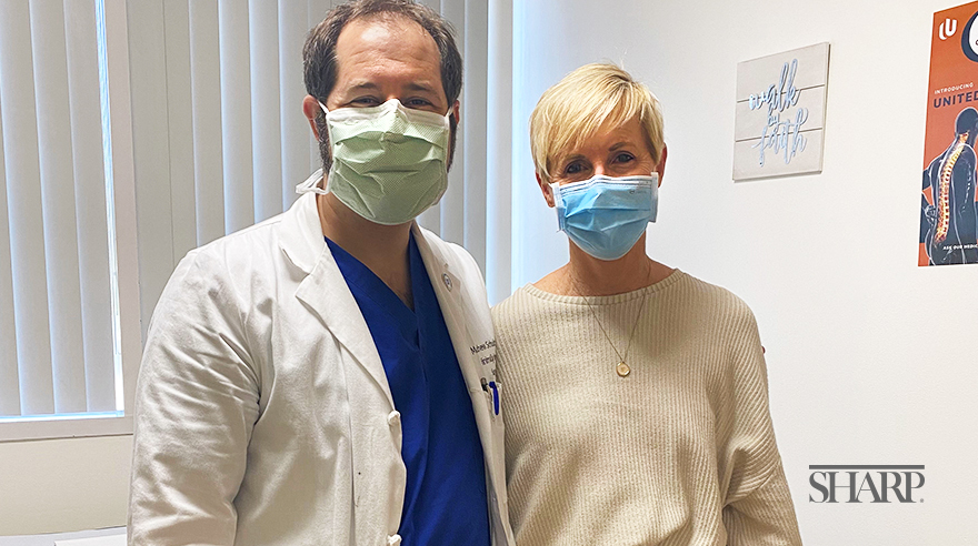 Dr. Matthew Schultzel with Sharp patient Karen Downtain.