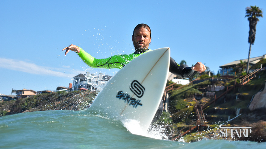 San Diego local Nic Spiess surfing