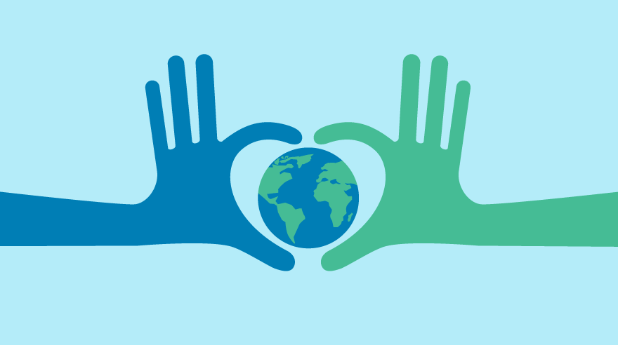 Illustration of hands helping the earth