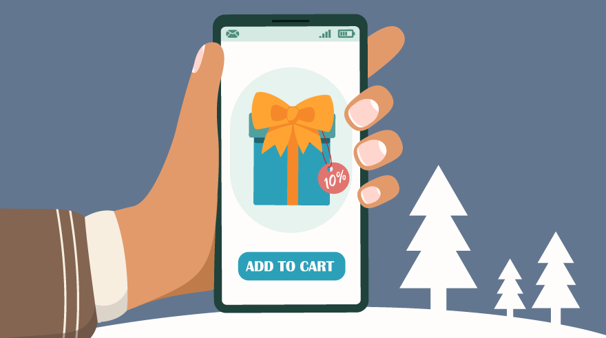 Illustration of smartphone with holiday gift for shopping