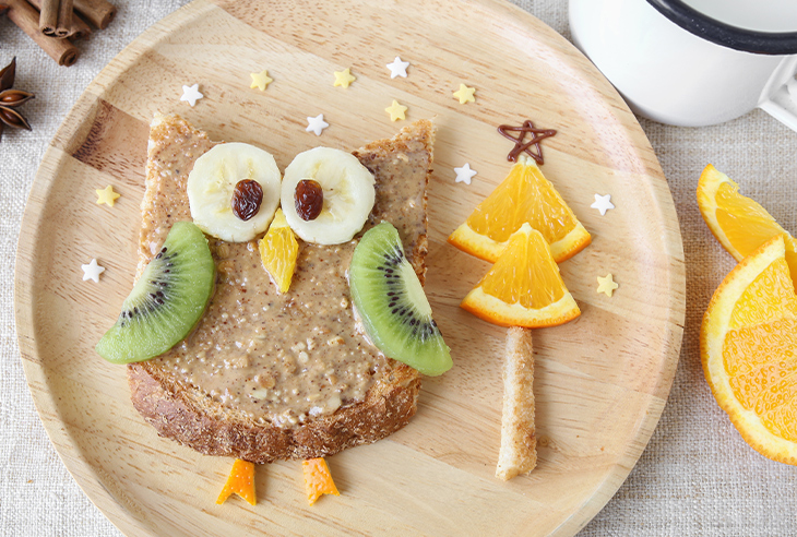 Nut or seed butter owl toasties