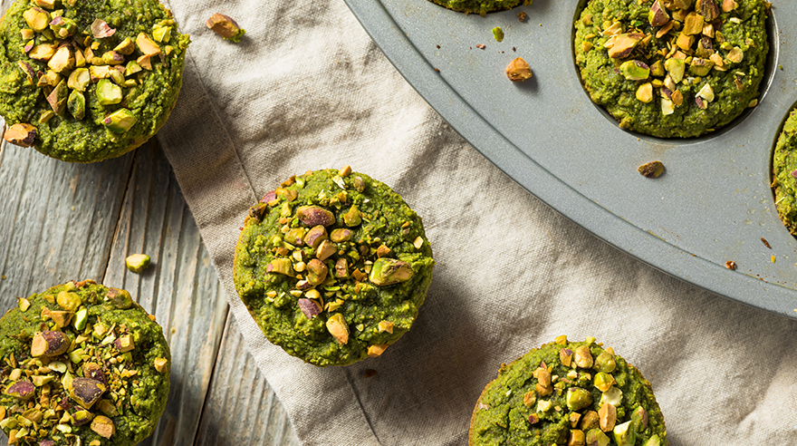 Healthy green spinach muffins