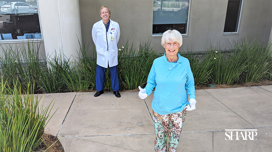 Sharon VanSickle Wiltse celebrates the 30th anniversary of her heart transplant alongside Dr. Brian Jaski, her cardiologist at Sharp HealthCare for more than three decades.