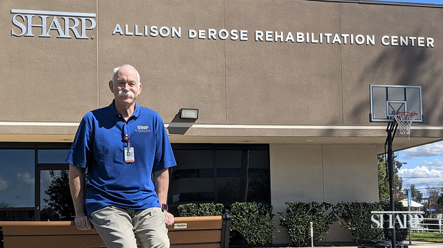Brad Matthews is back at work as a physical therapy assistant at the Sharp Allison deRose Rehabilitation Center after experiencing sudden cardiac arrest in the parking lot.