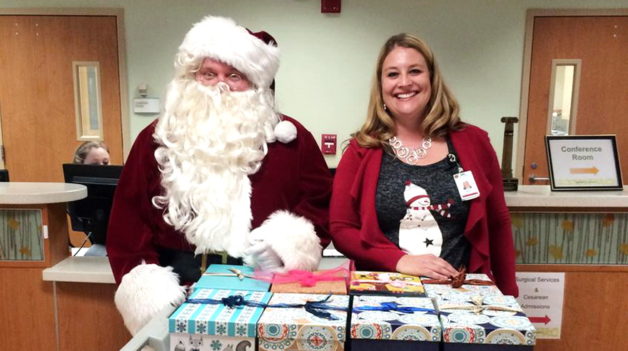 Santa Claus visits the Perinatal Special Care Unit at Sharp Mary Birch Hospital.