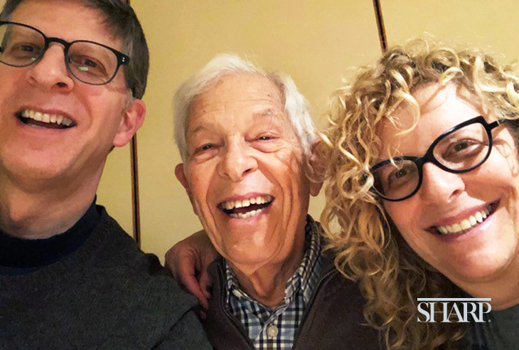 Seymour Schpoont enjoys time with his children, Robert (l) and Sandra (r), as he continues to recover from brain surgery.