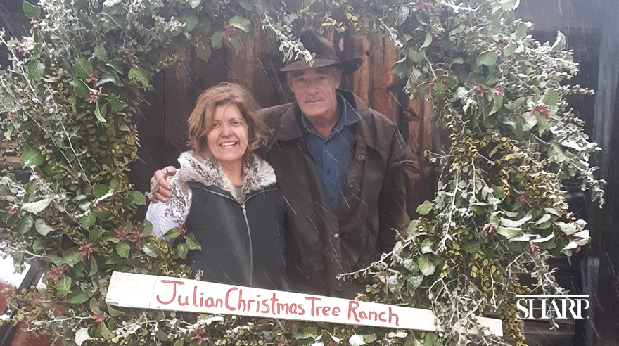 Denise Kelly works for Sharp HospiceCare, but she also owns and operates her family's Christmas tree farm with her husband, Ed.