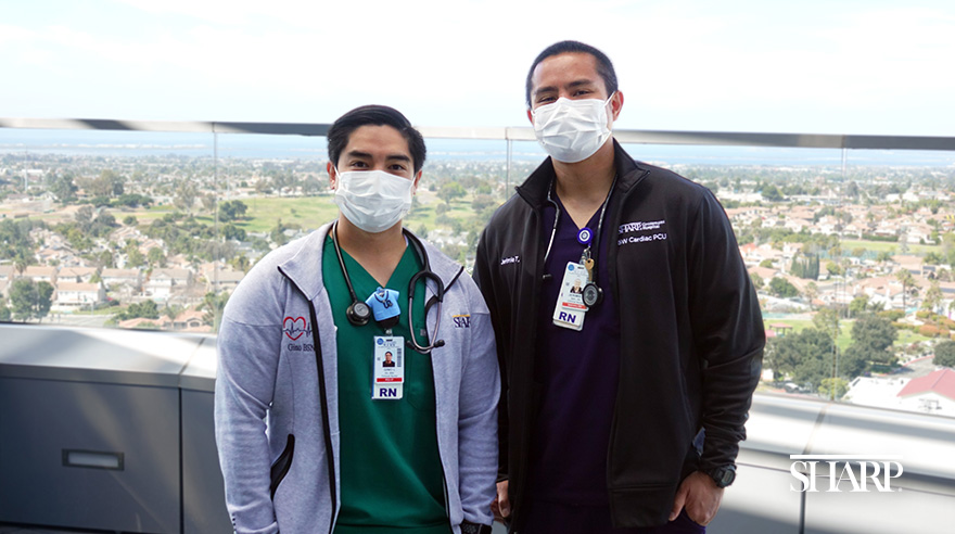 Jerimie Taygon (right) and Gino Lim (left) became friends in nursing school are now RNs together at Sharp HealthCare.