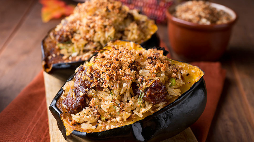 Stuffed roasted acorn squash (recipe)