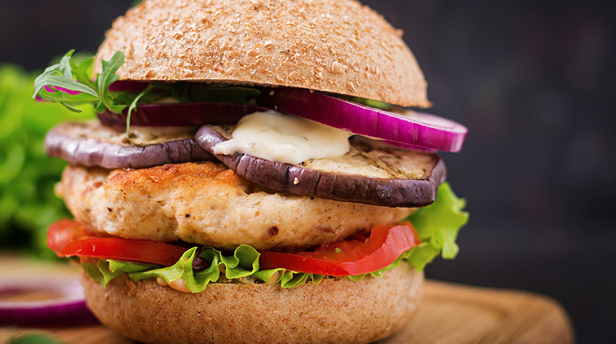 Turkey burgers with roasted eggplant recipe