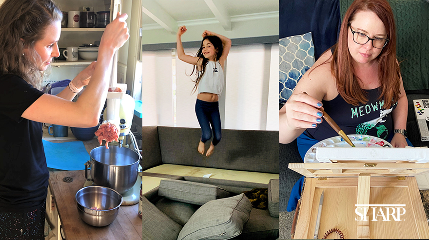 Lindsay Kramer cooking, Dr. Dara Bliss Schwartz's daughter jumping on the couch, Elizabeth Callahan painting